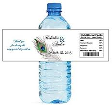 waterbottle labels amazon com 100 new peacock wedding water bottle labels great for