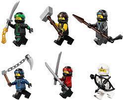 Amazon.com: The LEGO Ninjago Movie Minifigure Combo Pack - Lloyd, Cole,  Kai, Jay, Zane, and Nya (with Weapons): Toys & Games