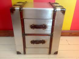 Steamer Trunk Furniture Industrial Metal Chest Of 2 Drawers Steamer Trunk Style