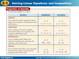 4 holt algebra 2 2 1 solving linear equations and inequalities