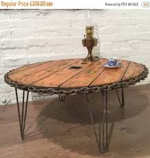 big cable drum hairpin legs vintage reclaimed wood industrial old ship chain coffee table village orchard furniture