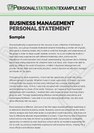 Resumes Personal Statements Business Management Personal Statement Example