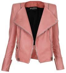 balmain 1 pink balmain miami leather jacket