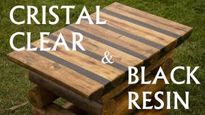 table top black resin and crystal clear resin and wood logs milic diy