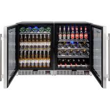 Undercounter Beverage Refrigerator Glass Door Dual Zone Under Counter Beer And Wine Glass Door Bar Fridges With