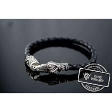 crow bracelet with elder futhark rune sterling silver norse jewelry