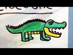 crocodile drawing for kids.  Crocodile How To Draw A Cartoon Crocodile For Kids On Crocodile Drawing For Kids O