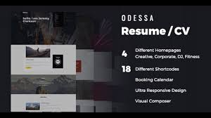 Odessa Personal Resume Wordpress Theme Themeforest Website