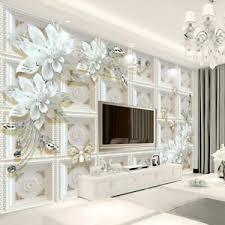 3D Ivory Floral Flower Butterfly Modern Wall Mural Wallpaper Living Room  Bedroom | eBay