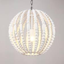 postmodern 1 light pure white wooden bead strand metal sphere globe pendant light