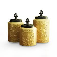 Yellow Canister Sets Kitchen Amazoncom American Atelier Canisters Cream Antique Set Of 3