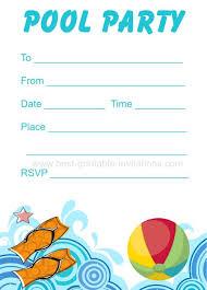 Printable Pool Party Invitation