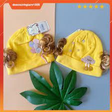 Mũ Sơ Sinh Cotton có tóc Cho Bé gái 0-4 Tháng/ Nón Sơ Sinh giảm chỉ còn  49,500 đ