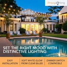 commercial patio lights. 48 FT Weatherproof Outdoor String Lights By Proxy Lighting - 15 Hanging Sockets Perfect Patio Commercial T