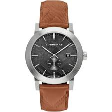 burberry brown leather strap watch