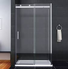 luxury frameless sliding shower door enclosure easyclean glass screen stone tray