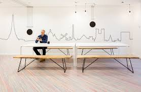 picnic office design. Linear Wall Graphics And Vibia Lighting With Modern Picnic Tables At La Parisienne Assurances Offices - Office Design N