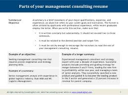 6 7 parts of your management consulting resume summary resume career overview example