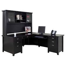 l shaped wooden office desk with hutch and computer stand in black for home office furniture