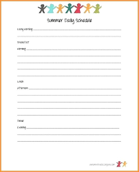 Summer Daily Schedule Template Kids Schedule Template Printable Weekly Planner Template Awesome