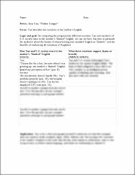 logicandgoals date pr atilde copy cis amy tan ldquo mother tongue this is the end of the preview sign up to access the rest of the document
