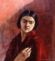 red cloak woman painting