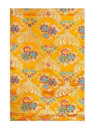 Tibetan Fabric Design Hinky Imports Yellow Thick Brocade Flower Tibetan Textile