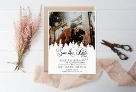 Winter Wedding Save The Date Winter Save The Date Photo Rustic Calligraphy Pine Trees Printable
