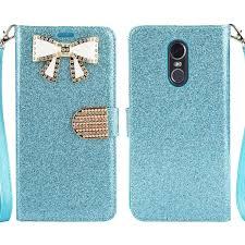 Lg Stylo 4 Light Up Case Lg Stylo 4 Case Lg Stylo 4 Plus Case Lg Stylus 4 Case Shiny Pu Leather Sparkle Rhinestone Butterfly Wallet Case Wbl Light Blue