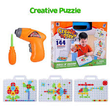 Drill N Design Children Drill Toys Diy Drill Puzzle Toys Baby Electric Drill Screw Group Toy Design Building Toy Match Tool Educational Toys