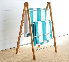 outdoor shower collapsible towel rack pottery barn free standing