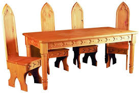 gothic wooden pine dining table and chairs furniture