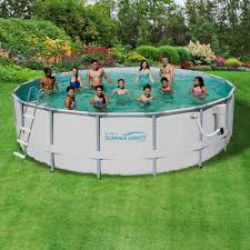 summer waves elite 18 ft round 52 in deep metal frame swimming pool package