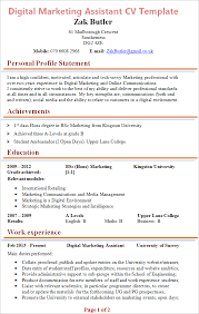 Digital Marketing Resume Template Best Of Digital Marketing Assistant CV Template Tips And Download CV Plaza