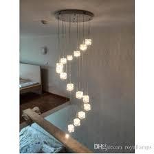 svitz 6 staircase art deco led cubic glass pendant lights for restaurant modern g4 led cube light high stair lighting foyer pendant lighting