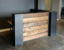 stained pine and steel point of counter or reception desks counter or reception office reception counter ideas cal office reception desk design