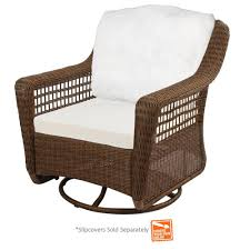 hampton bay spring haven brown wicker outdoor patio swivel rocker chair with cushions included choose