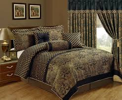 chezmoi collection lisbon 7 piece black gold jacquard fl comforter set com