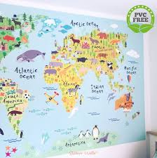 High Quality World Map World Map Wall Sticker For Kids Map Of The World Fabric Wall Graphic Kids World Map Wall Art World Map Wall Decal For Kids World Map Art