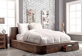 Bambi Modern Rustic Bedroom Furniture Bambi Modern Rustic Bed With Drawers  ...