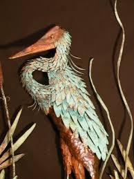 copper heron wall art