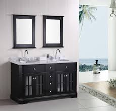 undermount bathroom double sink. Bathroom. Double Undermount Sink Vanity On Black Stained Wooden Cabinet Added Chrome Metal Arch Faucet Bathroom N