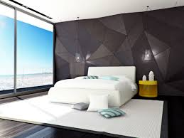 Modern Contemporary Bedroom Design with White King Size Bed and Yellow  Night Stand