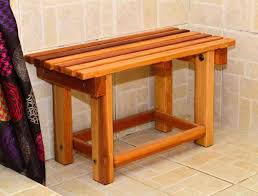 wooden shower bench by forever redwood stool plans