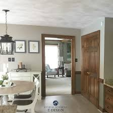 best paint colours with dark wood trim sherwin williams balanced beige and warm stone