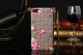 gucci 7 plus case. name:gucci flip genuine leather cases red flower pattern book holster cover for iphone 7 - brown gucci plus case
