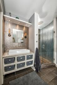 corrugated metal shower bathroom contemporary with white vessel sinks