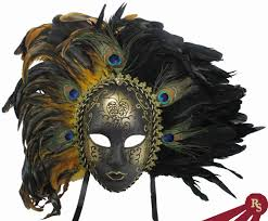 Giant Masquerade Mask Decoration Gold and Black Peacock Feathered Carnival Masquerade Mask 53