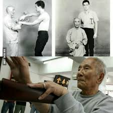 The real Ip Man(Ip Chun) training Bruce Lee. I bet most people don't know -  9GAG