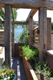 Chicago - Reclaimed Timber Pergola with Louvered Slats and Glass Panels,  Built in Tali Planters